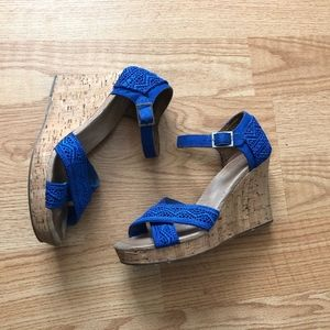 Toms wedges blue laces sz:8.5W casual career